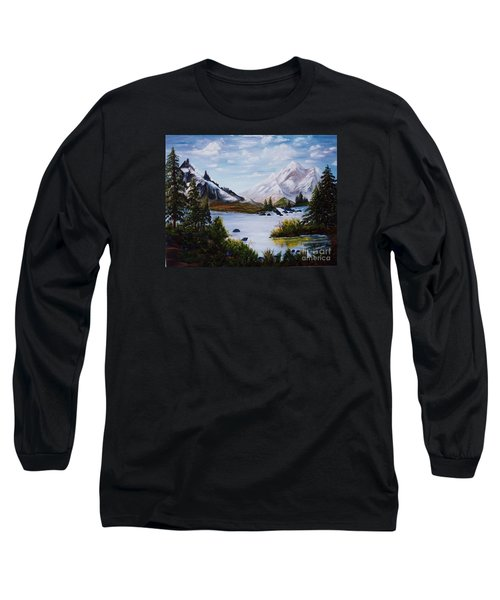 Long Sleeve T-Shirt featuring the painting Mountain Splendor by Myrna Walsh