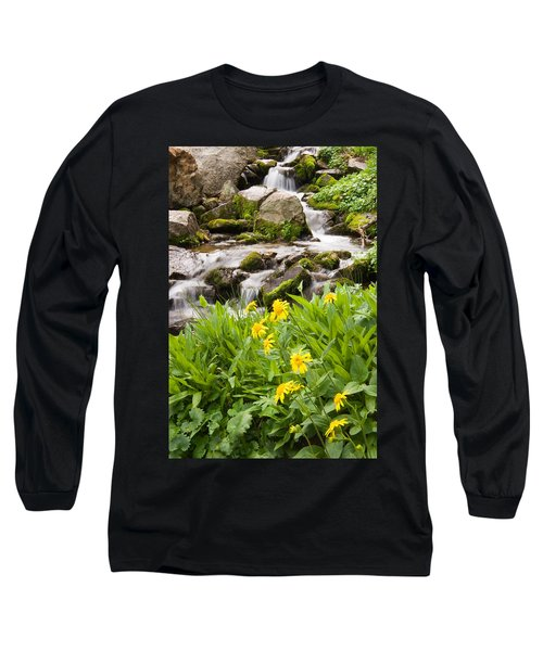 Mountain Waterfall And Wildflowers Long Sleeve T-Shirt by Utah Images