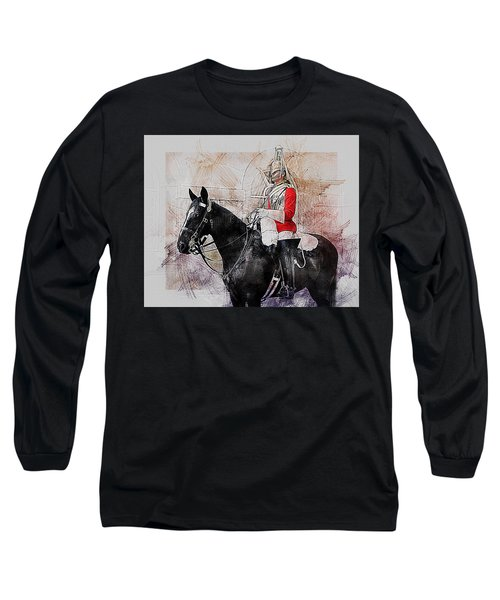 Mounted Household Cavalry Soldier On Guard Duty In Whitehall Lon Long Sleeve T-Shirt