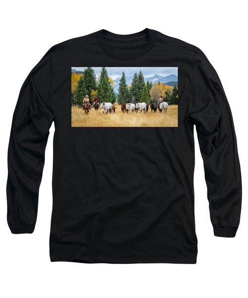Moving The Herd Long Sleeve T-Shirt by Jack Bell