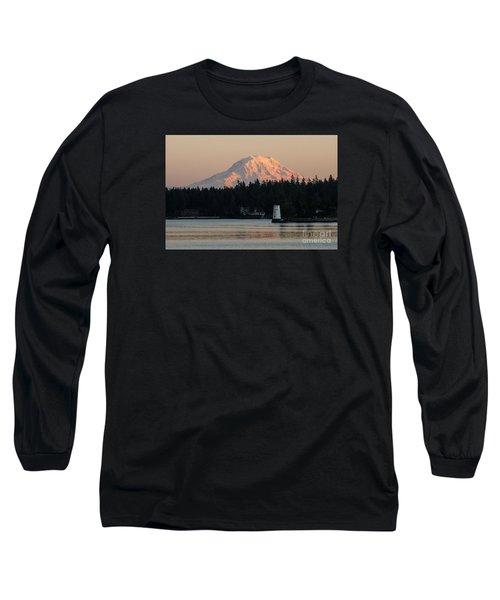 Mt Rainier Alpine Glow I Long Sleeve T-Shirt by Chuck Flewelling