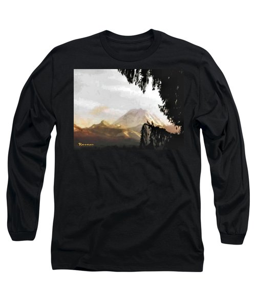 Long Sleeve T-Shirt featuring the photograph Mt. Rainier In Lace by Sadie Reneau