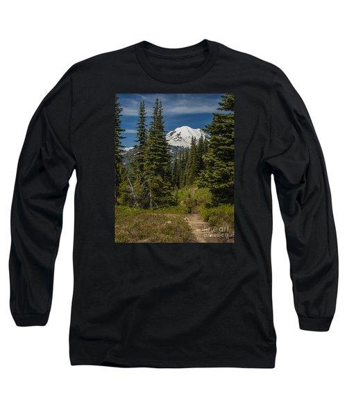 Mt. Rainier Naches Trail Portrait Long Sleeve T-Shirt by Chuck Flewelling