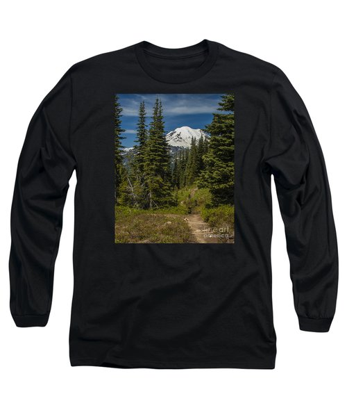 Mt. Rainier Naches Trail Portrait Long Sleeve T-Shirt