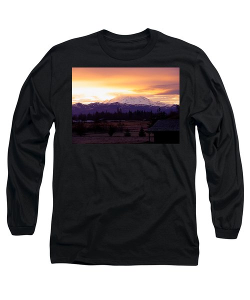 Mt. Rainier On Fire Long Sleeve T-Shirt