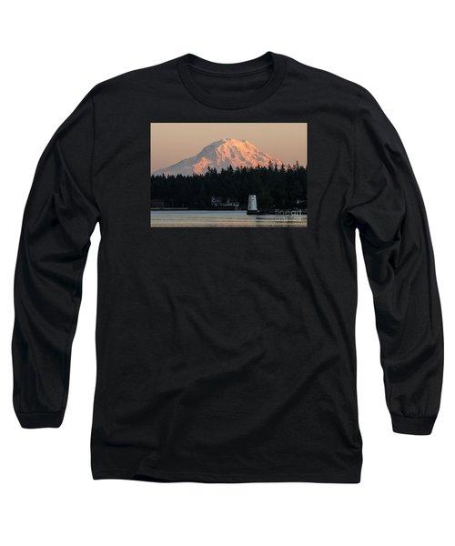 Mt. Rainier Sunset Glow Long Sleeve T-Shirt by Chuck Flewelling