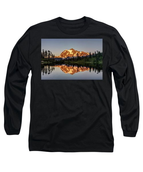 Mt Shuksan Reflection Long Sleeve T-Shirt by Pierre Leclerc Photography