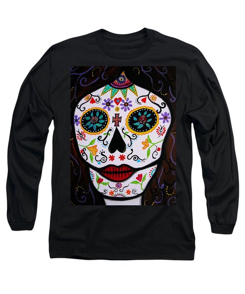 Long Sleeve T-Shirt featuring the painting Muertos by Pristine Cartera Turkus