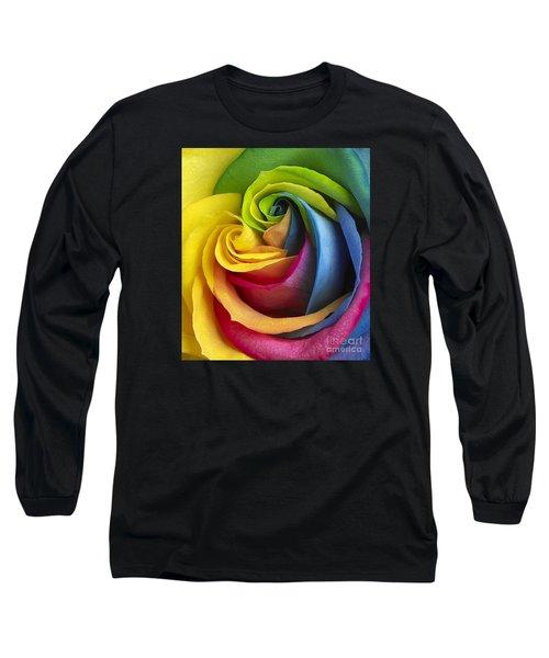 Rainbow Rose Long Sleeve T-Shirt by Tony Cordoza