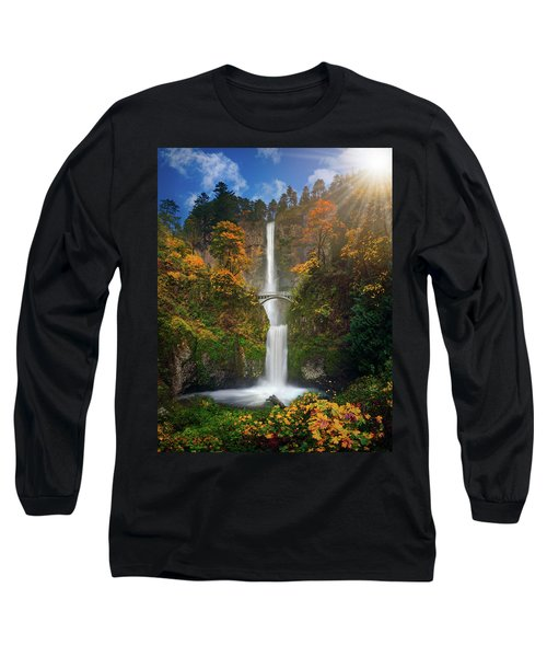 Multnomah Falls In Autumn Colors -panorama Long Sleeve T-Shirt by William Lee