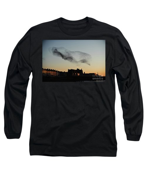 Murmuration Of Starlings Over Aberystwyth Wales Uk Long Sleeve T-Shirt