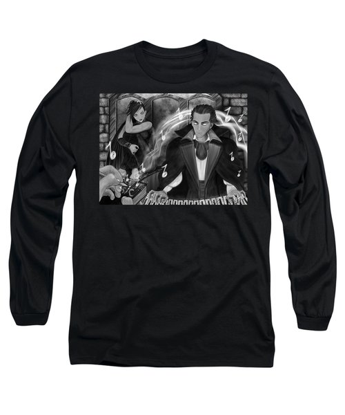 Long Sleeve T-Shirt featuring the painting Music Is Magic - Black And White Fantasy Art by Raphael Lopez