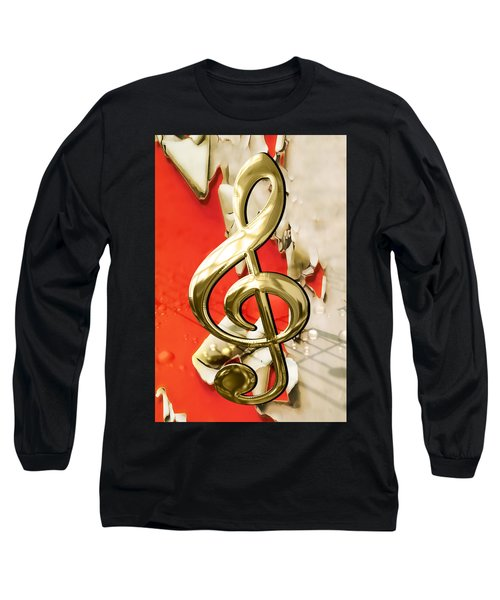 Musical Clef Musical Notes Art Long Sleeve T-Shirt by Marvin Blaine