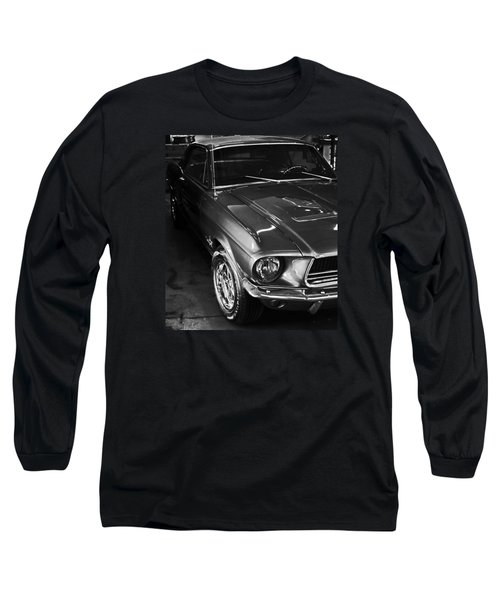 Mustang In Black And White Long Sleeve T-Shirt