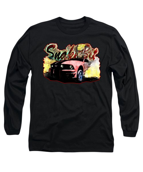 Mustanger Snakebit Burnout Hot Rod Art Long Sleeve T-Shirt