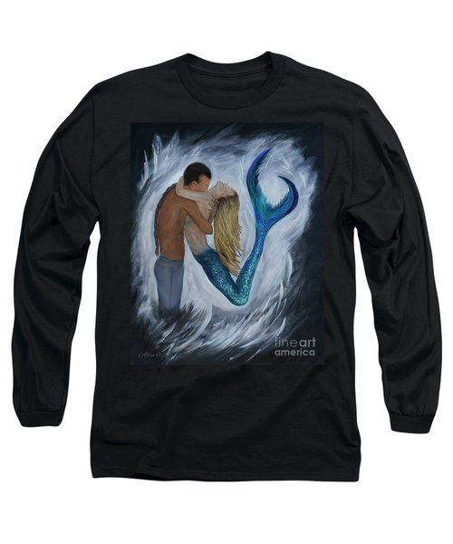 Long Sleeve T-Shirt featuring the painting My Dream Mermaid by Leslie Allen