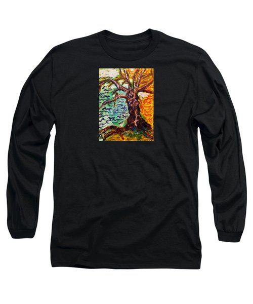 Long Sleeve T-Shirt featuring the mixed media My Treefriend by Mimulux patricia no No