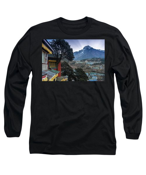 Long Sleeve T-Shirt featuring the photograph Namche Monastery Morning Sunrays by Mike Reid