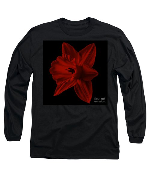 Narcissus Red Flower Square Long Sleeve T-Shirt