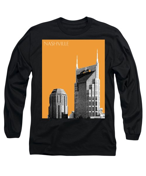 Nashville Skyline At And T Batman Building - Orange Long Sleeve T-Shirt by DB Artist