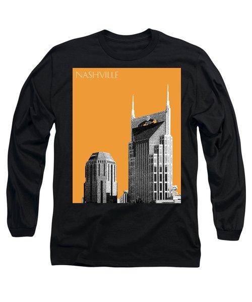Nashville Skyline At And T Batman Building - Orange Long Sleeve T-Shirt