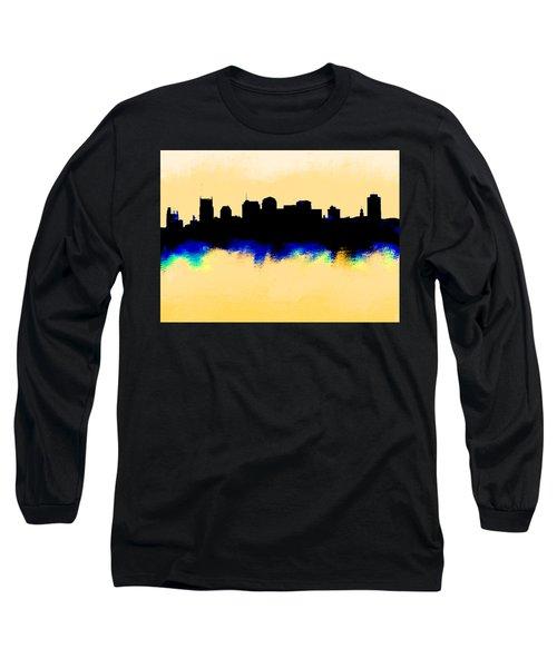 Nashville  Skyline  Long Sleeve T-Shirt by Enki Art