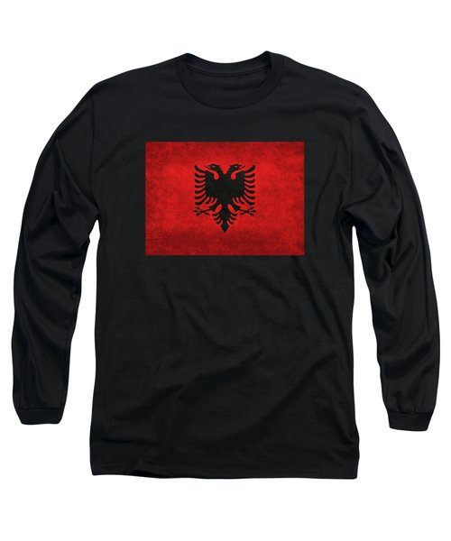 Long Sleeve T-Shirt featuring the digital art National Flag Of Albania With Distressed Vintage Treatment  by Bruce Stanfield