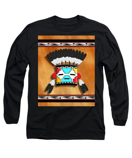 Native American Indian Kachina Mask Long Sleeve T-Shirt by John Wills