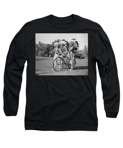 Native Americans With Bicycle Long Sleeve T-Shirt
