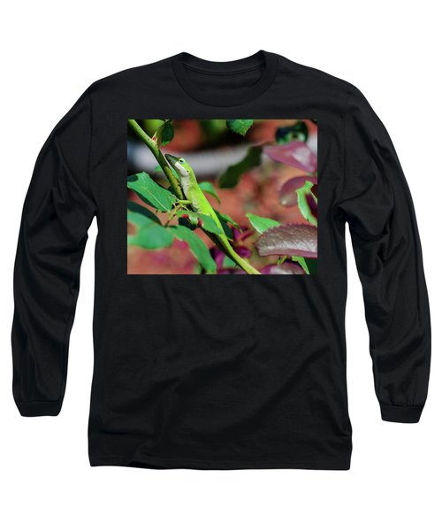 Native Anole Long Sleeve T-Shirt by Stefanie Silva