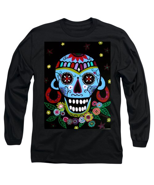 Long Sleeve T-Shirt featuring the painting Native Dia De Los Muertos Skull by Pristine Cartera Turkus