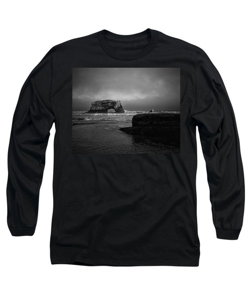 Long Sleeve T-Shirt featuring the photograph Natural Bridge And The Gull by Lora Lee Chapman