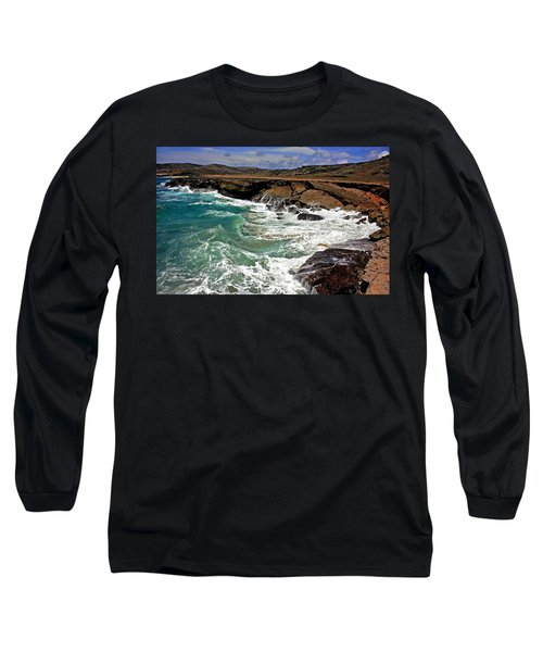 Long Sleeve T-Shirt featuring the photograph Natural Bridge Aruba by Suzanne Stout