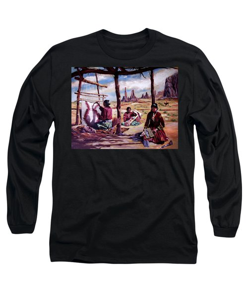 Navajo Weavers Long Sleeve T-Shirt by Nancy Griswold