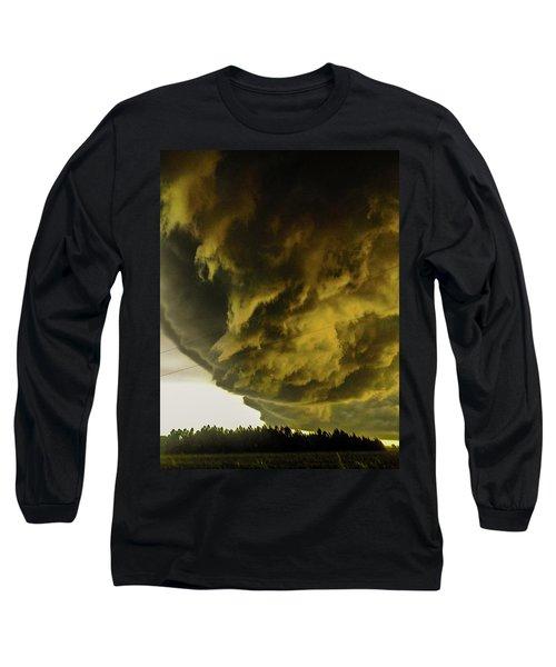 Nebraska Supercell, Arcus, Shelf Cloud, Remastered 018 Long Sleeve T-Shirt