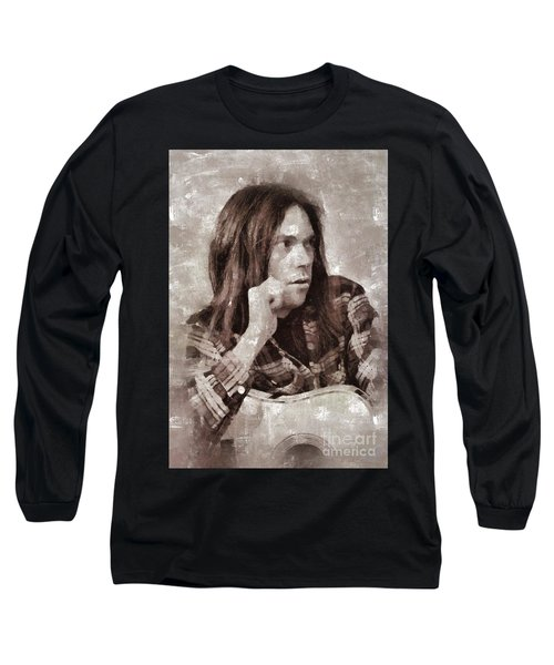 Neil Young By Mary Bassett Long Sleeve T-Shirt