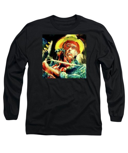 Neil Young Long Sleeve T-Shirt by Les Leffingwell