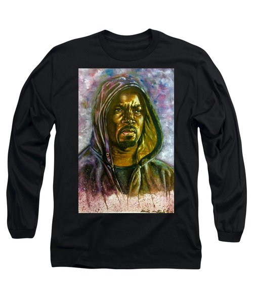 Long Sleeve T-Shirt featuring the painting  Netflix Luke Cage by Darryl Matthews