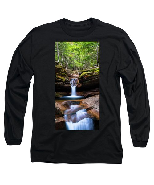 New Hampshire Sabbaday Falls And Fall Foliage Panorama Long Sleeve T-Shirt by Ranjay Mitra