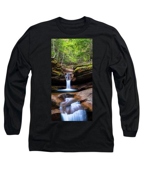 New Hampshire Sabbaday Falls And Fall Foliage Panorama Long Sleeve T-Shirt