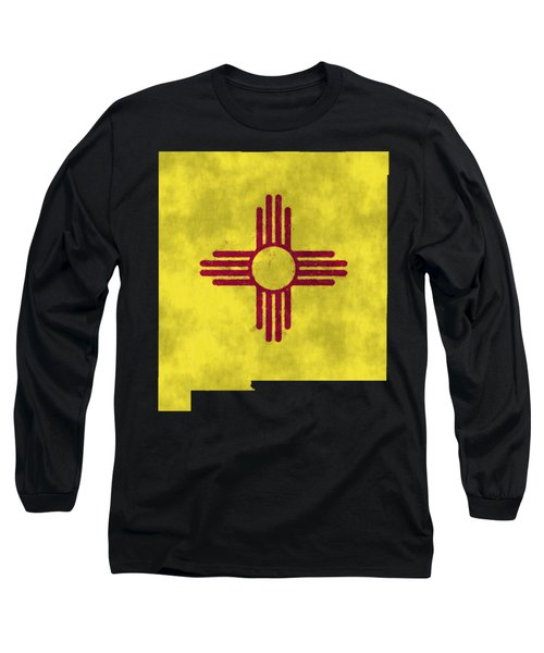 New Mexico Map Art With Flag Design Long Sleeve T-Shirt