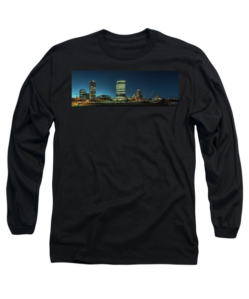 Long Sleeve T-Shirt featuring the photograph New Milwaukee Skyline by Randy Scherkenbach