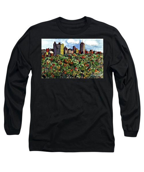 Long Sleeve T-Shirt featuring the painting New York Central Park by Terry Banderas