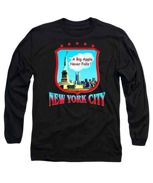 New York City Big Apple - Tshirt Design Long Sleeve T-Shirt by Art America Gallery Peter Potter