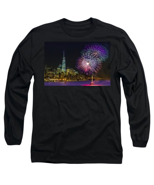 Long Sleeve T-Shirt featuring the photograph New York City Summer Fireworks by Susan Candelario