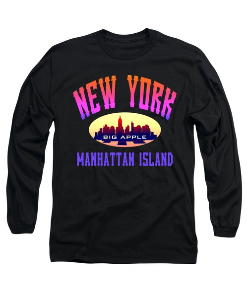 New York Manhattan Island Design Long Sleeve T-Shirt