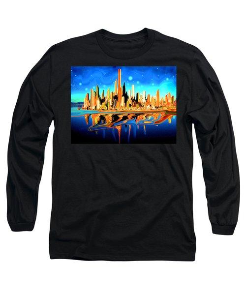 New York Skyline In Blue Orange - Modern Fantasy Art Long Sleeve T-Shirt