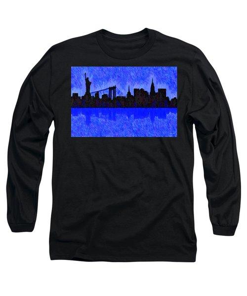 New York Skyline Silhouette Blue - Da Long Sleeve T-Shirt