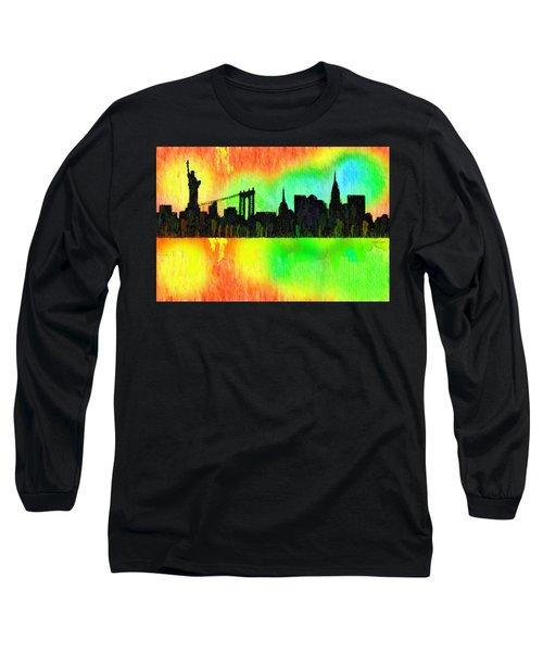 New York Skyline Silhouette Colorful - Da Long Sleeve T-Shirt