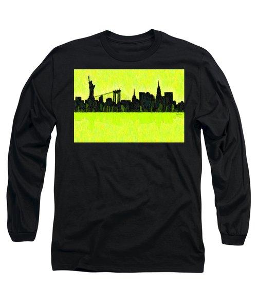 New York Skyline Silhouette Yellow-green - Da Long Sleeve T-Shirt